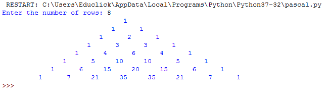 Python Pascal Triangle